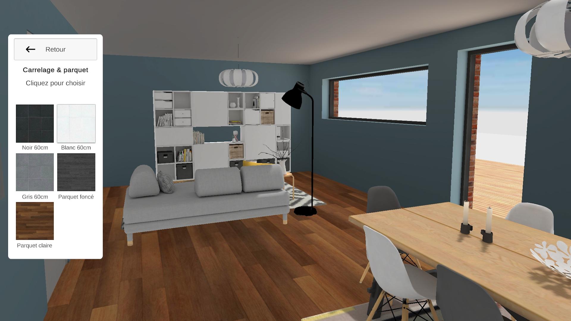 Screen application Maisons d'en Flandre vue salon et changement de parquet