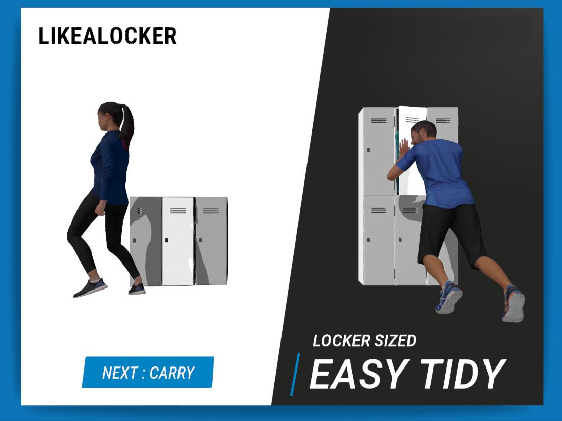 Le Sac LikeALocker peut se ranger facilement dans un casier