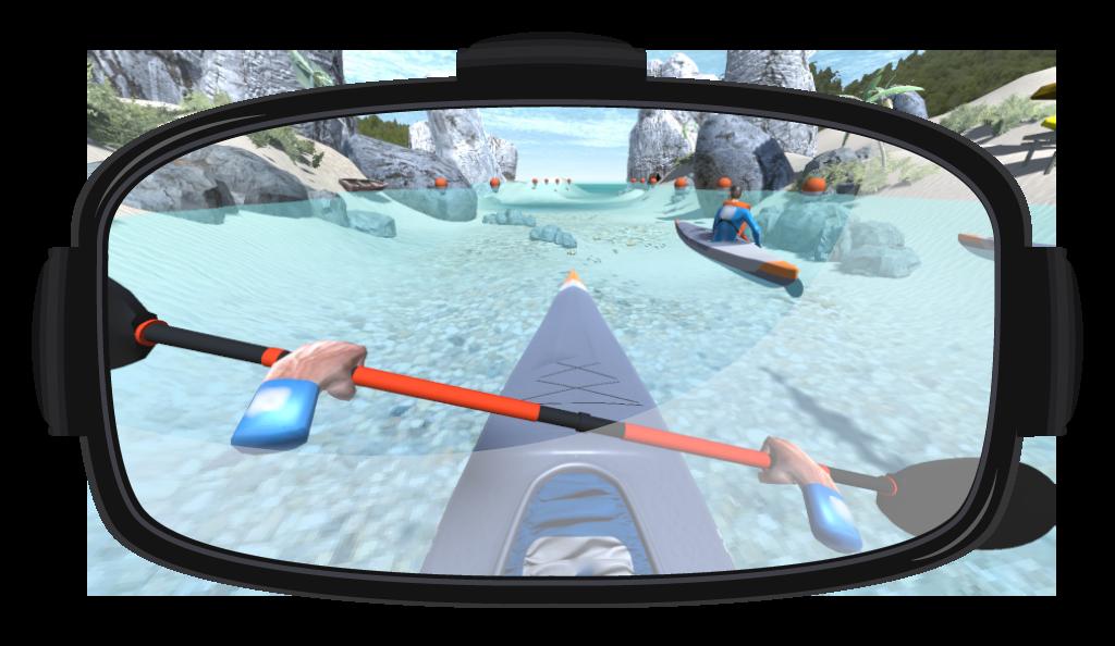 Image de casque de réalité virtuelle et application Kayak VR